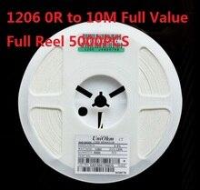 5000 pces (0 ohm a 10 m) smd chip resistor 1206 10 k ohm 5% chip resistorsohm 0r 10r 1 k 2.2 k 3.3 k 4.7 k 10 k 100 k 820r 1 m ohm kit