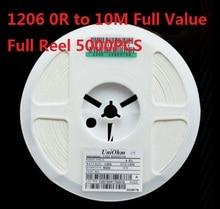 5000PCS (0 ohm to 10 M) SMD 칩 저항기 1206 10K ohm 5% 칩 저항기 0R 10R 1K 2.2K 3.3K 4.7K 10K 100K 820R 1M 옴 키트