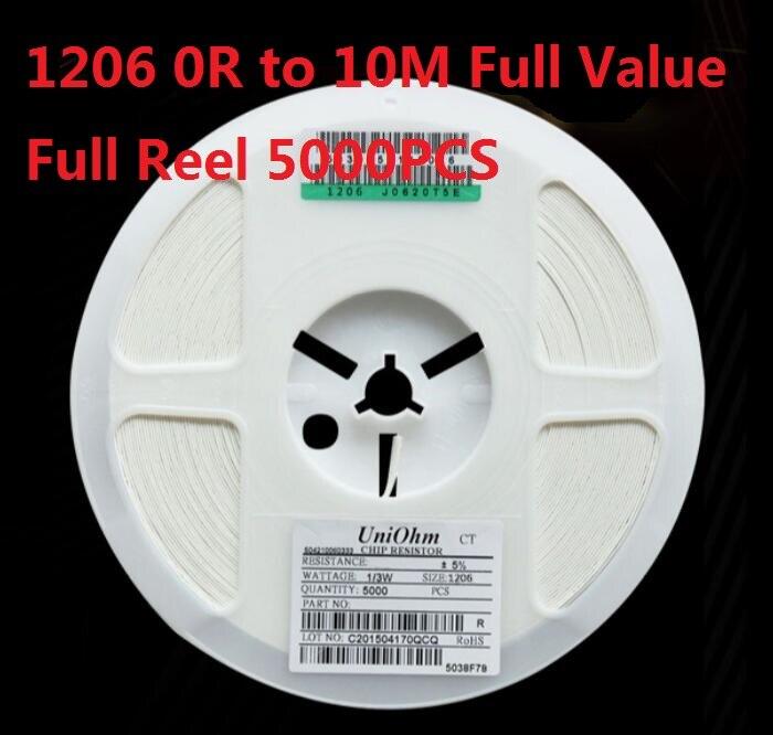 5000PCS  (0 Ohm To 10M) SMD Chip Resistor 1206 10K Ohm 5% Chip Resistorsohm 0R 10R 1K 2.2K 3.3K 4.7K 10K 100K 820R 1M Ohm Kit