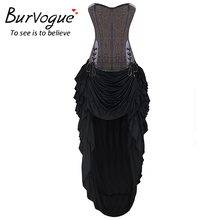 Burvogue Women Steampunk Corset Dress Waist Control Corsets Dress Corselet Gothic Steel Boned Waist Cincher Costume Dress Sets