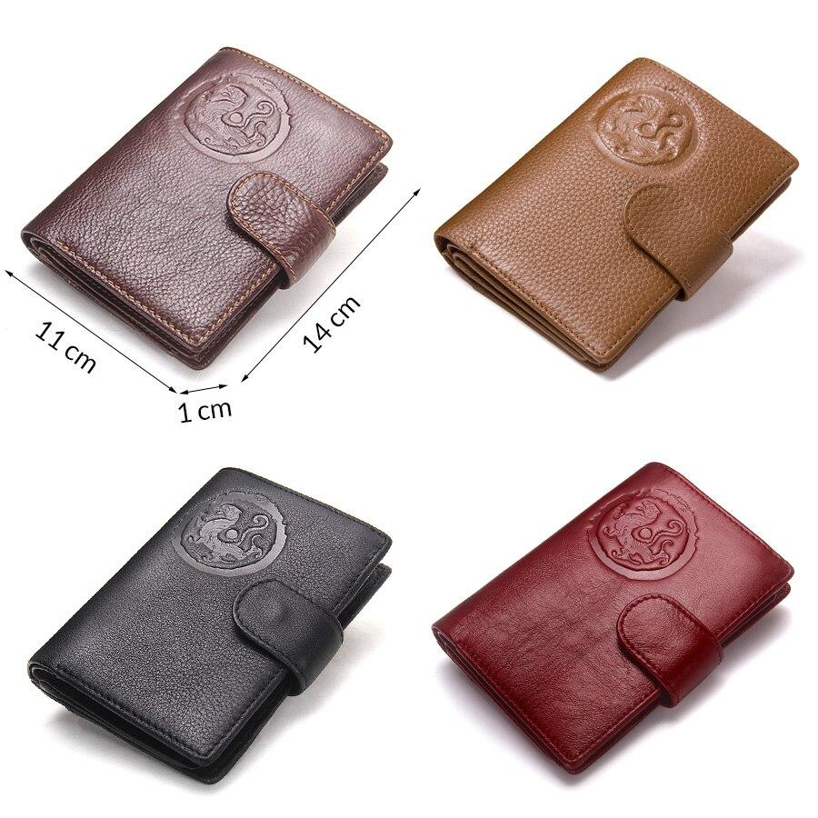 Image 3 - Contacts 本革の女性のパスポートホルダー女性財布トラベル男性 portomonee ショート walet カードホルダーパスポートカバー財布   -