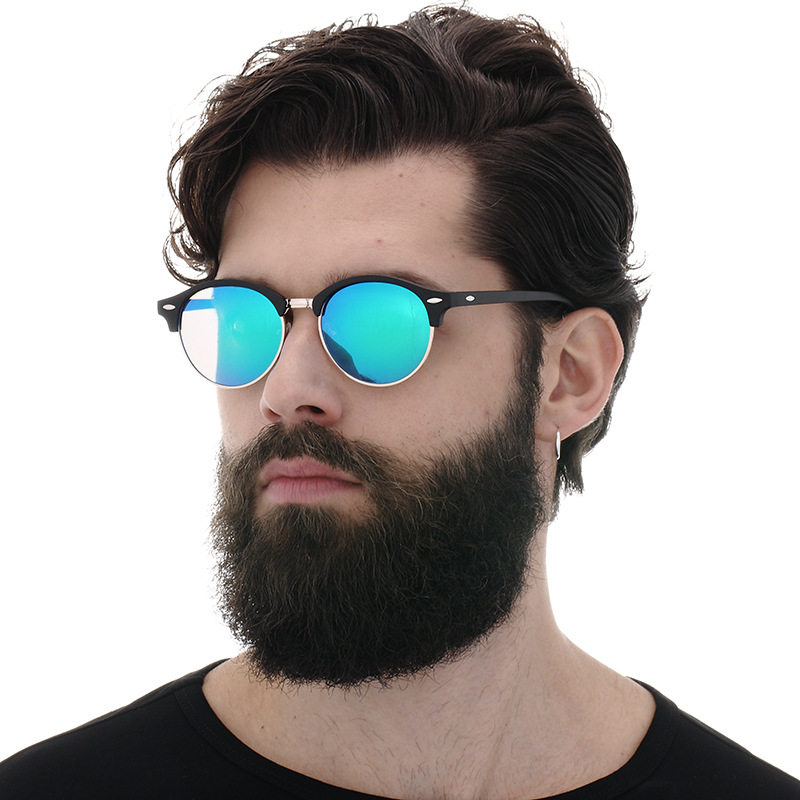 7226a40890 New Polarized Round Sunglasses Mens Womens Brand Designer Club Round  Glasses Classic Sun glasses Driving Semi Rimless Eyewear