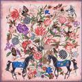 Femme Мода Новый Роскошный 100% Саржевого Шелка Мягкая Шаль Цветочный Лошадь Печати Пашмины Площади Жаккардовые Foulards сокрытия Шарфы