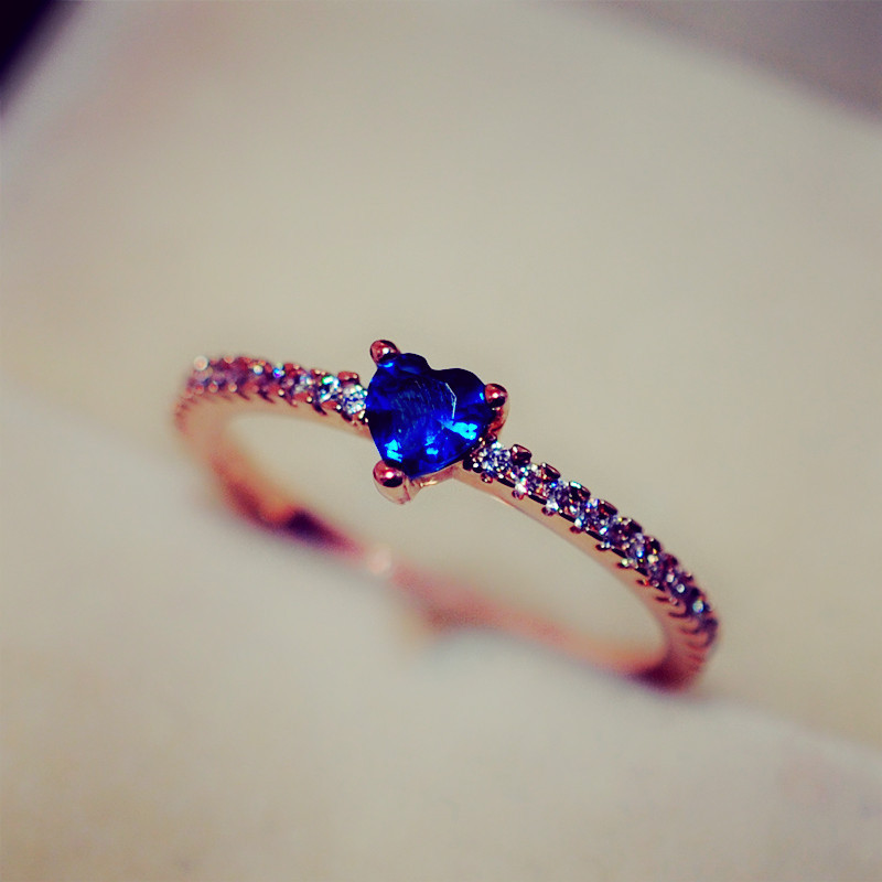 Simple Love Sapphire Ring For Women High Quality Female Inlaid Cz