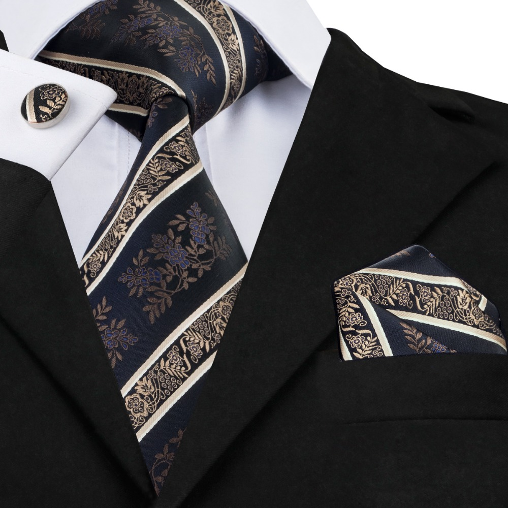 SN-798 Black Bisque Mediumblue Striped Tie Hanky Cufflinks Sets Men's 100% Silk Ties For Men Formal Wedding Party Groom