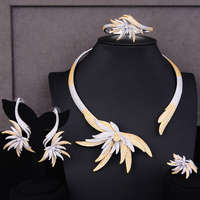 GODKI Famous Brand Unique Design Leaf Luxury Nigerian Dubai Jewelry Sets For Women Cubic Zircon Wedding Bridal Jewelry Sets 2019