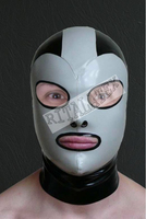 Latex Men's Hood Anatomic glued Latex Mask with the behind-laying zipper