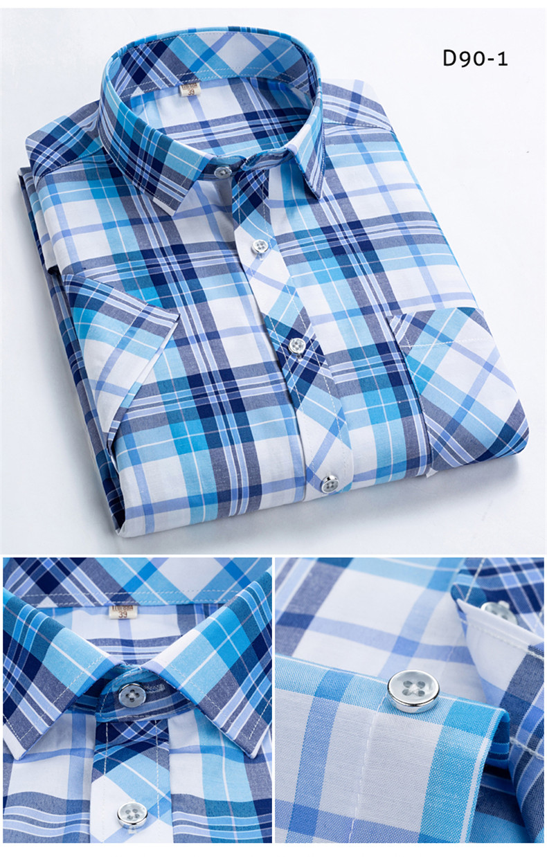 HTB1EHuFUYPpK1RjSZFFq6y5PpXaE Checkered shirts for men Summer short sleeved leisure slim fit Plaid Shirt square collar soft causal male s with front pocket