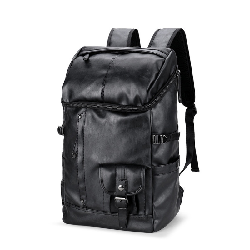 VKT Men PU Leather Backpack Laptop Travel Large Capacity Brand Women Casual Rucksack School Bags For Teenagers 6203 men pu leather backpack crocodile pattern school backpacks for teenagers double shoulder bag black laptop rucksack travel bags