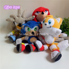 Blue Red Yellow Silver 23cm Classic Sonic the Hedgehog Plush Toys Knuckles Tails Soft Stuffed Animal Dolls(China)