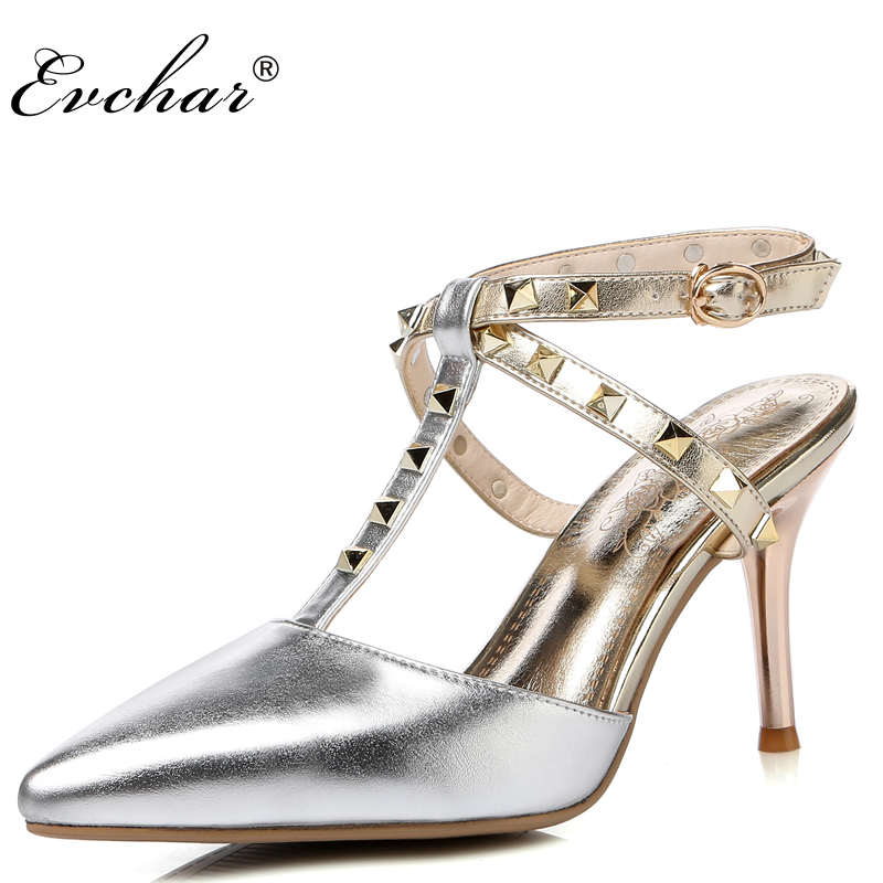 Hot Women sexy Ladies  Pointed Toe High Heels Fashion Buckle Studded Stiletto party High Heel Sandals Shoes big size 32-43 wholesale lttl new spring summer high heels shoes stiletto heel flock pointed toe sandals fashion ankle straps women party shoes