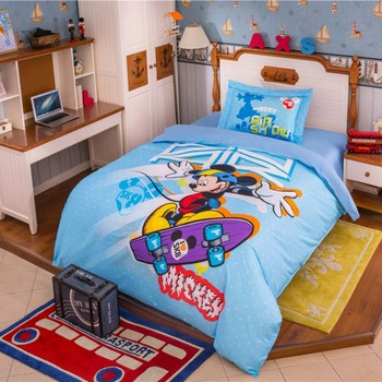 Disney 3D Cartoon Mickey Mouse Bedding Set 100% Cotton Comforter Cover Set for Boys Girls Birthday Christmas Gift Twin Queen