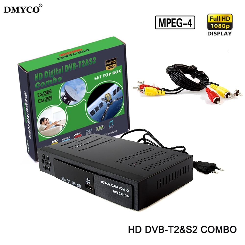 DVB-T2 dvb-S2 HD Digital Terrestrial Satellite TV Receiver Combo DVB T2 S2 H.264 MPEG-2/4 TV Tuner Support Bisskey Free Shipping
