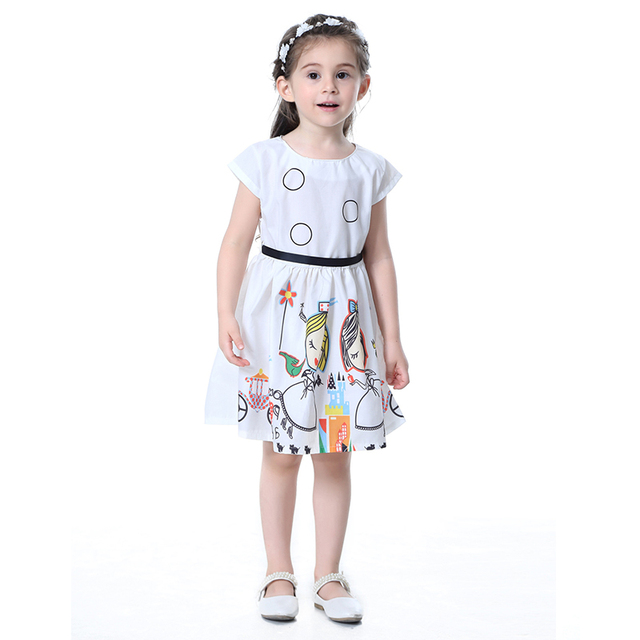 f874d31c96f Girls Dress Casual Fashion Kids Children Cartoon O-Neck Cotton Girl Party  Dress Princess Sweet Kids Clothes Girls Clothing