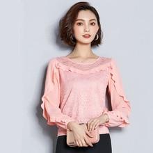 купить blusas mujer de moda 2018 autumn new elegant lace splice ruffle sleeve women blouse slim plus size Lace hollow femme shirt по цене 928.12 рублей