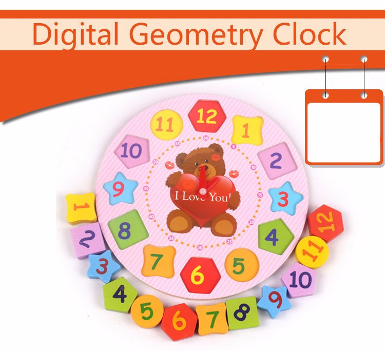 Kids Toys Wooden Blocks Clown Bear Digital Geometry Clock Children Educational Toy For Baby Boy and Girl Gift 3
