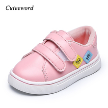 Kids Casual Sports Shoes for Girls Boys Sneakers 2019 Spring and Autumn New Cartoon Pu Leather Kids Shoes Sneakers White Pink цена