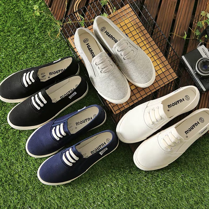 women men canvas shoes solid color female moccasins slip on loafers all match concise design unisex lovers shoes Chaussure Femme trendy embossing and solid color design loafers for men