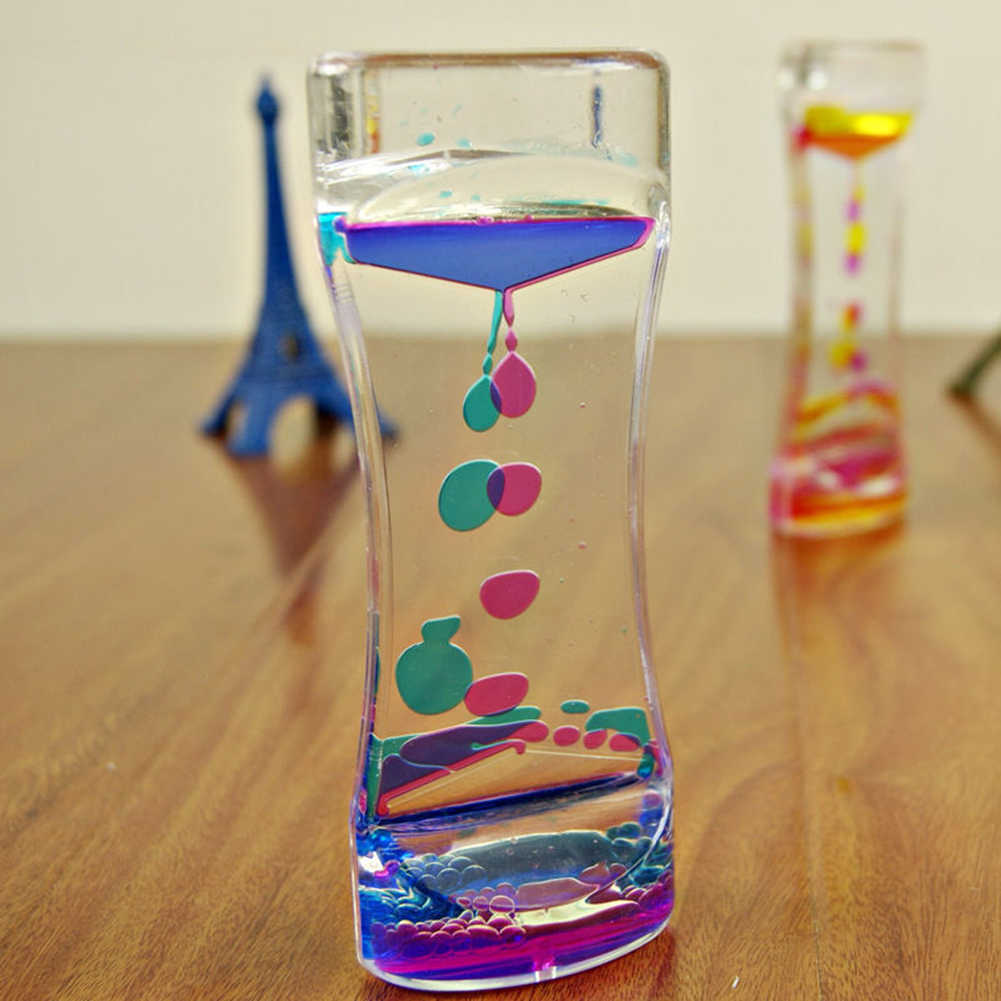 Hot Sell Creative Double Color Floating Liquid Oil Acrylic Hourglass Liquid Visual Motion Bubble Hourglass Timer Home Desk Decor