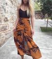 Moda Casual loose women impresión cómoda división faldas hasta los tobillos algodón de cintura alta transpirable largo de bohemia faldas