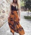 Moda Casual mulheres soltas impressão divisão confortável tornozelo-comprimento saias de algodão bohemian saias longas de cintura alta respirável