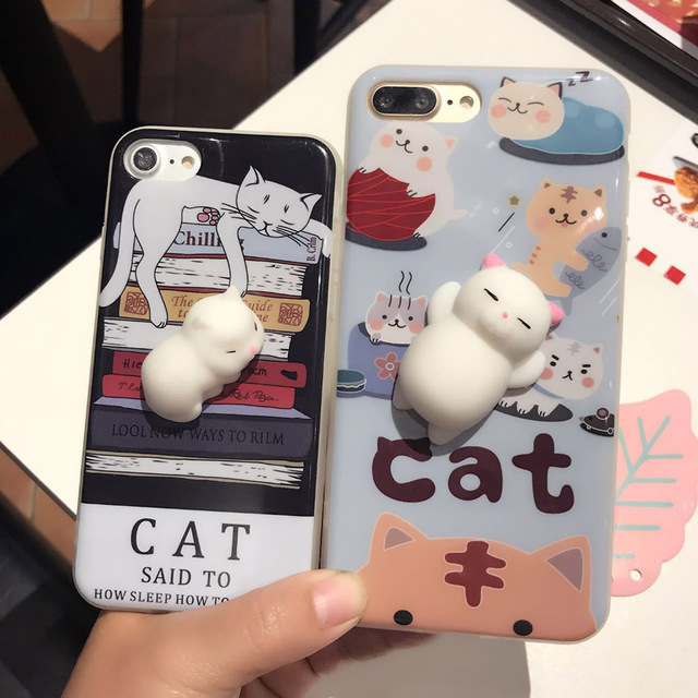 outlet store d417a 5fa8d US $2.99 |Squishy Phone Case for IPhone 6 6S I6 Plus 3D Cute Soft Silicone  Panda Sleeping Cat Kitty Cover for IPhon 7 7plus Housing Coque-in ...