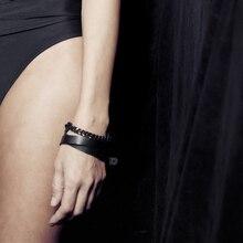 YD&YDBZ 2019 New Black Leather Bracelets Handmade Gothic Style Bracelet Trendy Accessories Gift Girl Jewellery Female