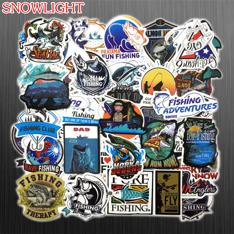 50PCS Funny Fisherman Go Fishing  Stickers For Laptop Suitcase Freezer Vinyl Laptop Luggage Bike Skateboard