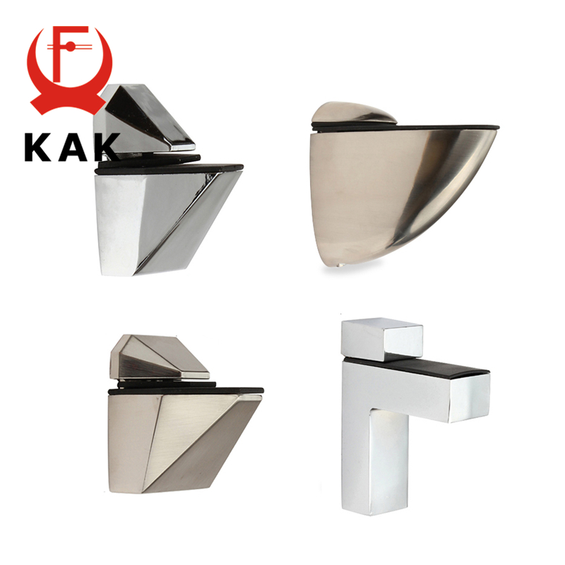 KAK Zinc Alloy Adjustable Glass Shelf Holder Glass Clamps Shelf Support Bracket Chrome Alloy Shelf Holder Glass Shelf BracketGlass Clamps   -