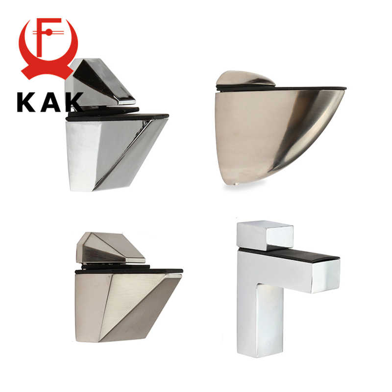 KAK Zinc Alloy Adjustable Glass Shelf Holder Glass Clamps Shelf Support Bracket Chrome Alloy Shelf Holder Glass Shelf Bracket