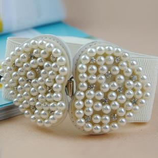 Women Fashion Elastic Heart Pearl Diamond Wide Belts Pearl Heart  Wide Belts Elastic Girdle 3006