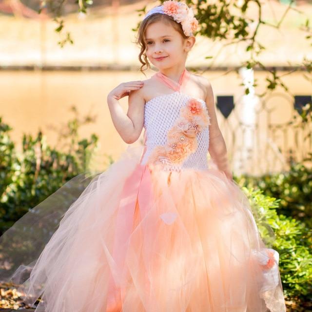Peach Flower Girl Dress Tutu Blanco Foto De La Boda de Alta Costura Primavera Verano Cabritos Del Vestido de la Princesa Fiesta de Cumpleaños Vestido TS055