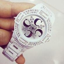 Men And Women Quartz  Watches Black White Ceramic Watchband Fully Rhinestone High-end Custom Linked List Watch