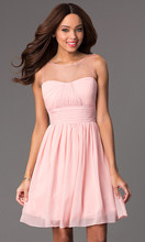 Beautiful Lovely Pink Short Homecoming Dresses Elegant Sashes Chiffon Short Party Dress Cheap Dresses For Homecoming Event