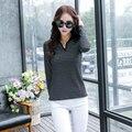Camisetas mujer 2016 camisetas mulheres inverno da marca de moda t camisa listrada casual vetement femme t-shirt de algodão tops de manga longa