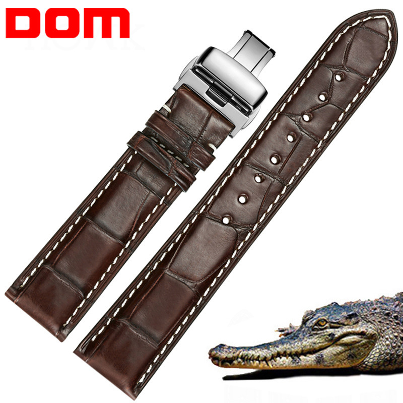 DOM Alligator Leather Watch Strap Genuine Leather Watch Band For Men Women Watch Accessories 22mm 20mm 18mm 16mm 14mm