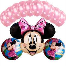 Free shipping 13pcs lots Foil Balloons Set Minnie children s toys wholesale decorative dot latex balloons