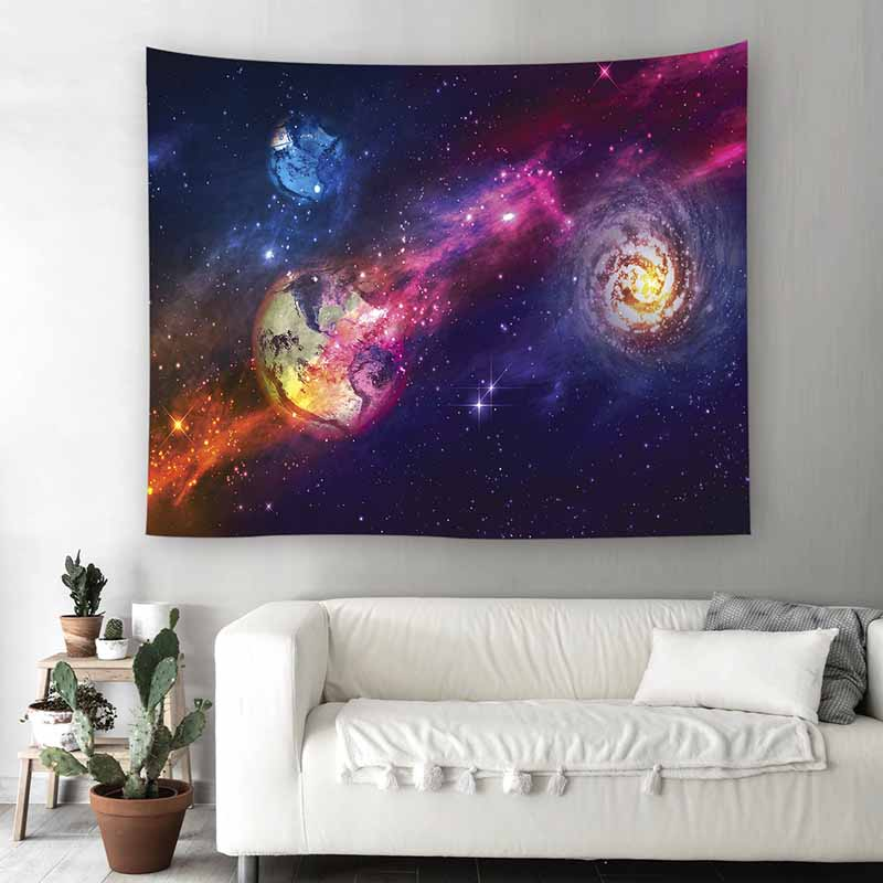 Lannidaa Printed Tenture Universe Tapestry Moon For Dorm Room Decor Psychedelic Tapestry Wall Hangings Hippie Sky Wall Tapestry image