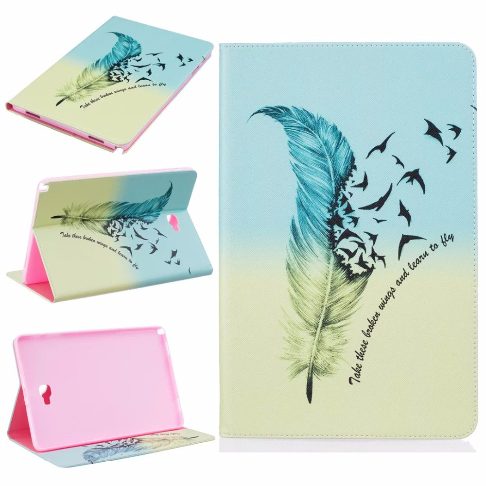 Stylus + Film + high quality Fashion painting Book Case Cover For Samsung GALAXY Tab A A6 S Pen P580 P585 10.1 inch Tablet 3 in 1 high quality business smart pu leather book cover case for samsung galaxy tab s2 t710 t715 8 0 stylus screen film