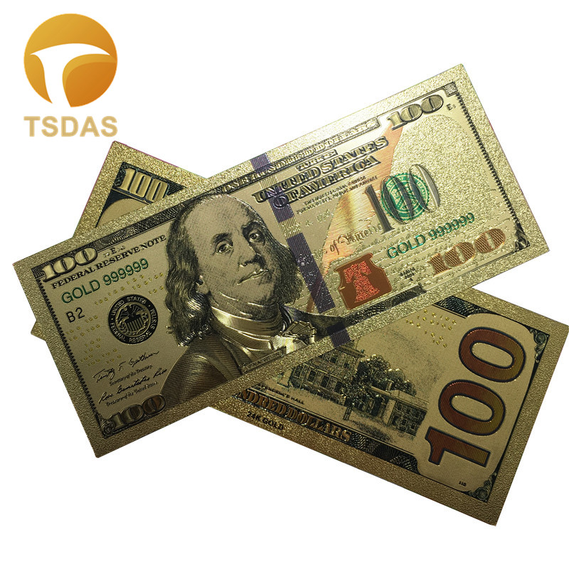 Drop Ship Colorful USA Gold Foil $100 Banknote Valuable Collection Gold Foil Banknote Replica Money 10pcs