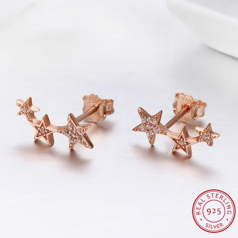 Hot Selling Rose Golden Color Little Star Sterling Silver Rose Gold Filled Earrings For Women Girls Daily Jewelry pendientes
