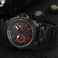 NAVIFORCE Brand New Chronograph 24 Hours Red Dial Stainless Steel Band Men Outdoor Sport Watch Men