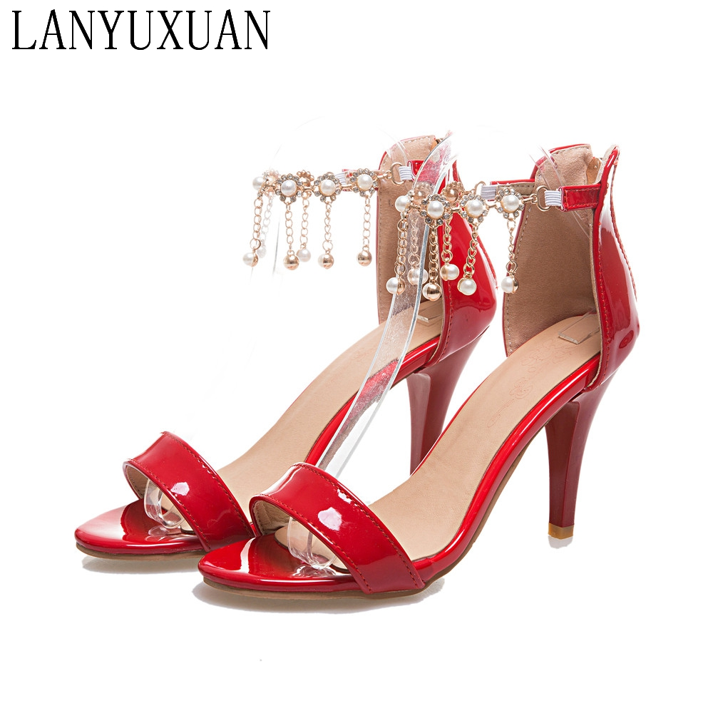 Фотография 2017 New Fashion Plus Big Size 31- 45 Sandals Summer  Ladies Wedding  Party Shoes High Heel Women Pumps T863