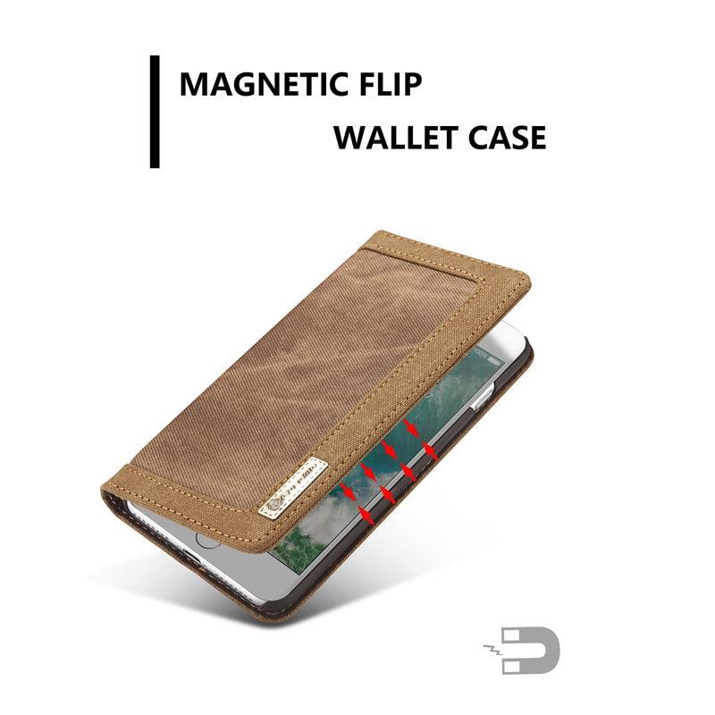 För Apple iPhone 7 Fodral Skal Magnetisk Denim Canvas Wallet Stand - Reservdelar och tillbehör för mobiltelefoner - Foto 4