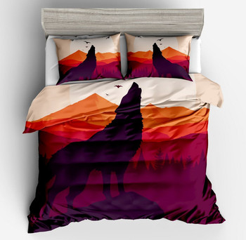 Hot sell Golden yellow desert Bedding Set 3D Brightly colored Duvet Cover Pillow cases Wolf Eye Bed Set 3pc Art Print Bedclothes