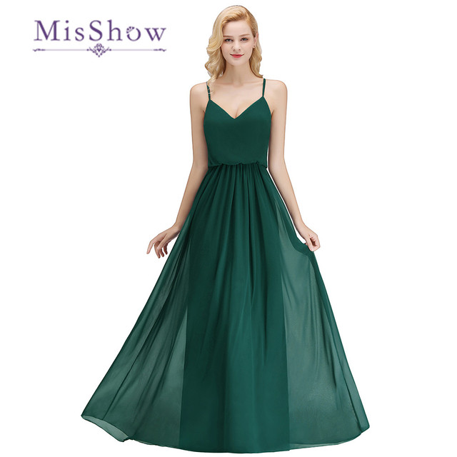 2b311c4092 Elegant V Neck Chiffon Bridesmaid Dark Green Prom Dresses Long Spaghetti  Strap Party Homecoming Bridesmaid Dress Vestido Longo