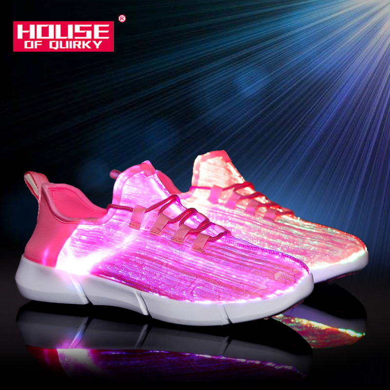 Sports-Shoes Sneakers Fiber-Optic Recharge Womens Summer Led Light for Girls USB Glowing