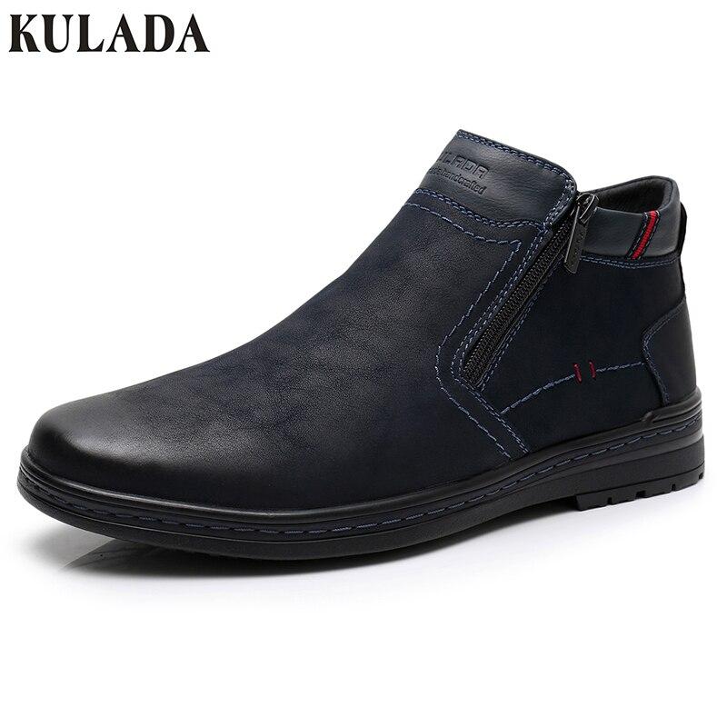 KULADA offre spéciale bottes vache daim hommes hiver bottine hommes les plus chaudes bottes de neige Double fermeture éclair côté botte décontracté épais fourrure chaussure - 2