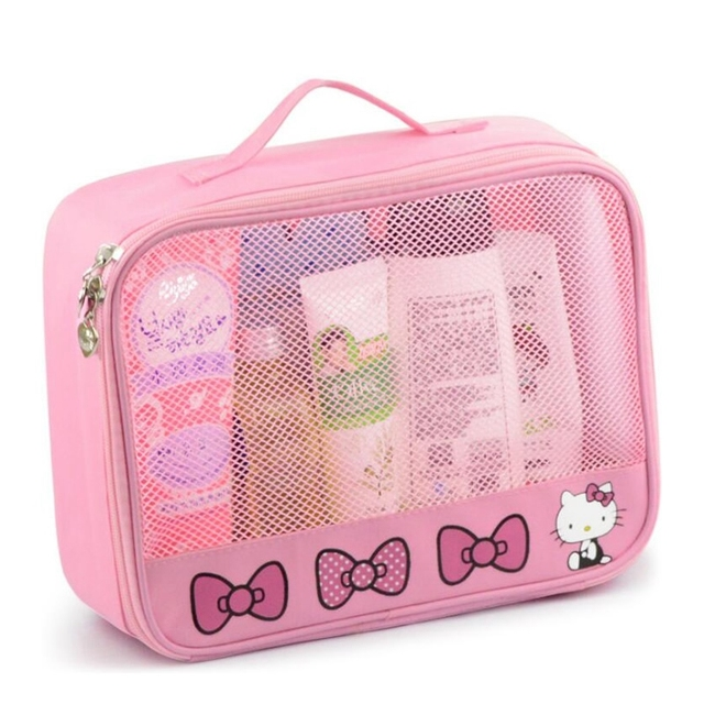f3095de73 Girl Travel Portable Cosmetic Bag Women Cartoon Hello Kitty Zipper Makeup  Bag Organizer Make Up Case