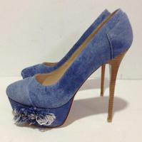 new fashion denim blue crystal embellished high heel shoe 2017 spring newest pointed toe woman pumps dress heels thin heels shoe